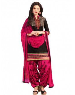Festival Wear Black Pure Cotton Patiyala Suit - 18362
