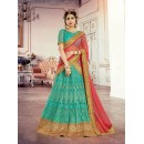 Festival Wear Aqua Blue Square Net Lehenga Choli - 18379