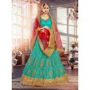 Aqua Blue Square Net Lehenga Choli - 18380