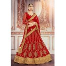 Ethnic Wear Red Square Net Lehenga Choli - 18381