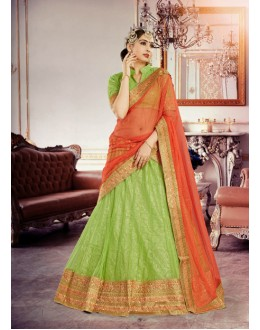 Festival Wear Pista Green Soft Net Lehenga Choli - 18383