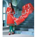 Ethnic Wear Red Cambric Cotton Salwar Suit - 18390