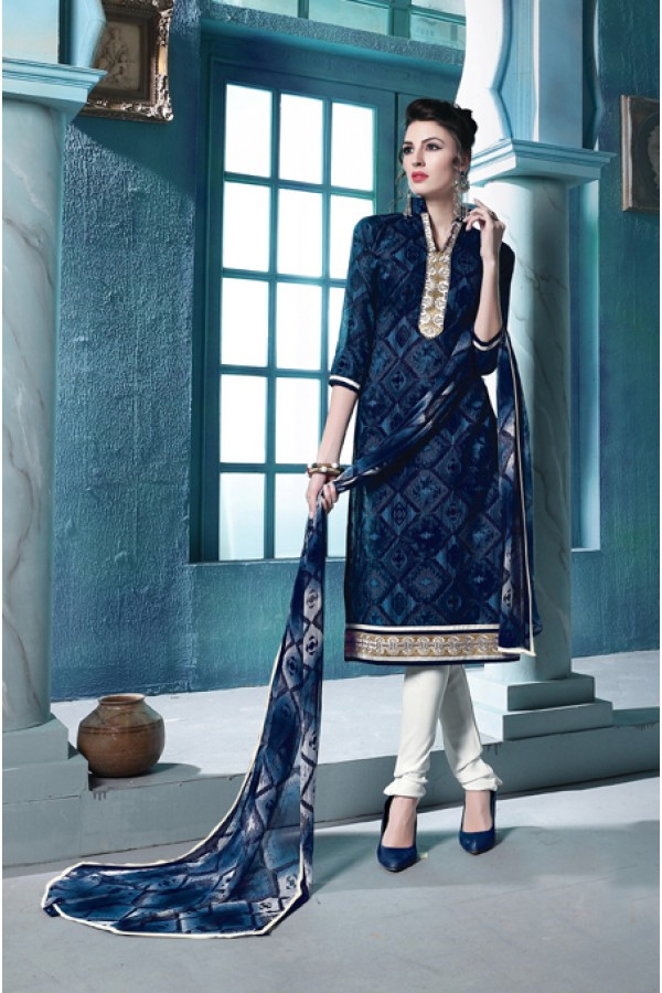Party Wear Navy Blue Cambric Cotton Salwar Suit - 18391