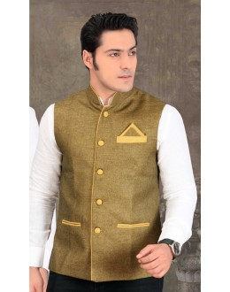 Party Wear Readymade Mehendi Waistcoat For Men - 18402