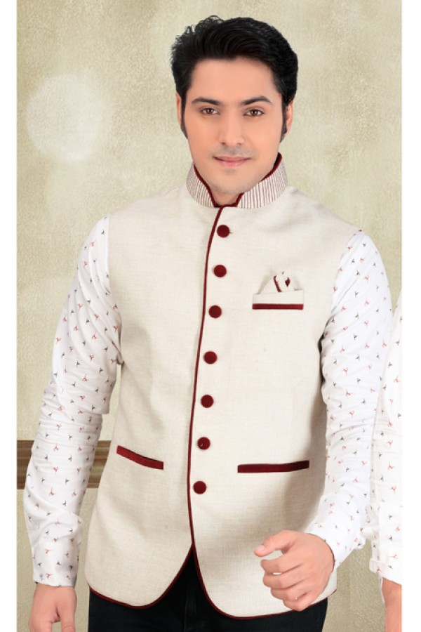 Wedding Wear Readymade White Waistcoat For Men - 18404