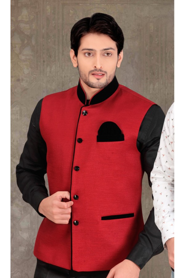 Readymade Red Waistcoat For Men - 18406