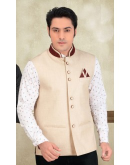 Party Wear Readymade Cream Waistcoat For Men - 18409