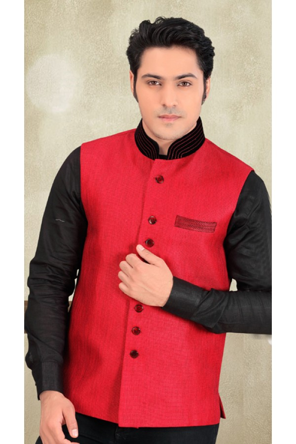 Readymade Red Jute Waistcoat For Men - 18412