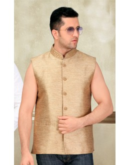 Party Wear Readymade Golden Waistcoat For Men - 18413