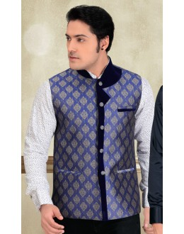 Wedding Wear Readymade Blue Waistcoat For Men - 18417