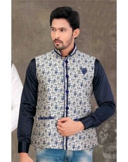 Ethnic Wear Readymade Multi-Colour Waistcoat For Men - 18420