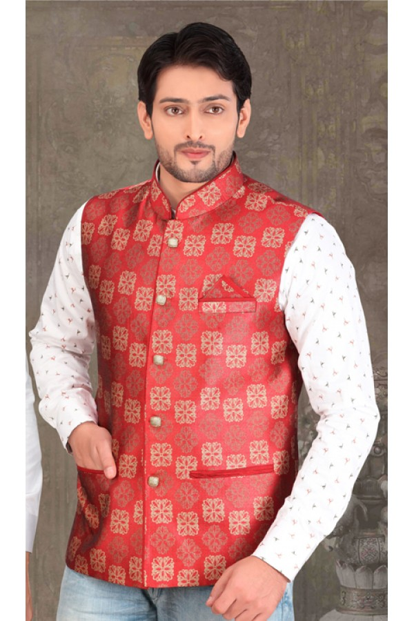 Readymade Red Waistcoat For Men - 18422
