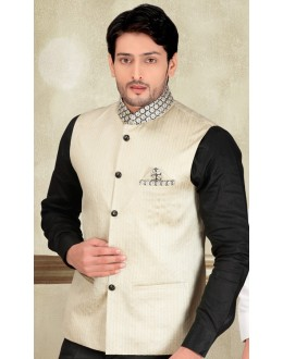 Party Wear Readymade Cream Waistcoat For Men - 18423
