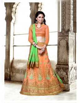Festival Wear Light Orange Net Lehenga Choli - 18433