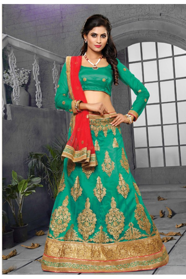 Wedding Wear Firozi Net Lehenga Choli - 18436