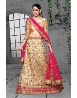 Festival Wear Cream Net Lehenga Choli - 18439