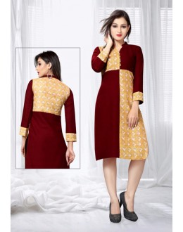 Ethnic Wear Readymade Maroon & Yellow Kurti - 18447