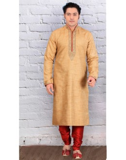Festival Wear Ready-Made Cream Silk Kurta & Pajama - 18448