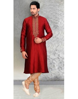 Festival Wear Ready-Made Maroon Silk Kurta & Pajama - 18449