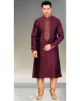 Festival Wear Readymade Purple Silk Kurta & Pajama - 18451