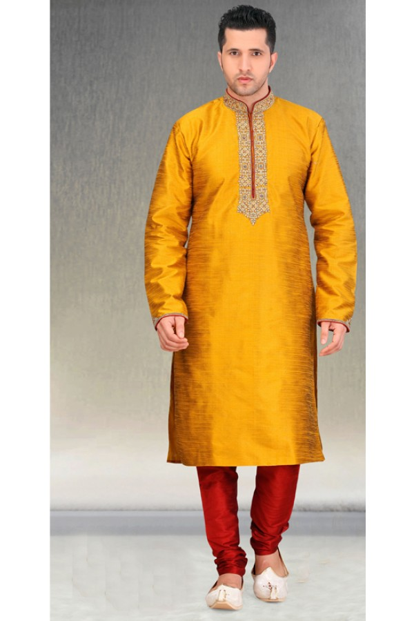Readymade Yellow Silk Kurta & Pajama - 18452
