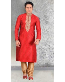 Ethnic Wear Readymade Red Silk Kurta & Pajama - 18453