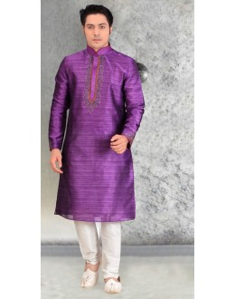 Party Wear Readymade Purple Silk Kurta & Pajama - 18457