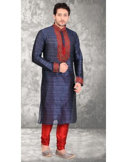 Wedding Wear Readymade Multi-Colour Silk Kurta & Pajama - 18458