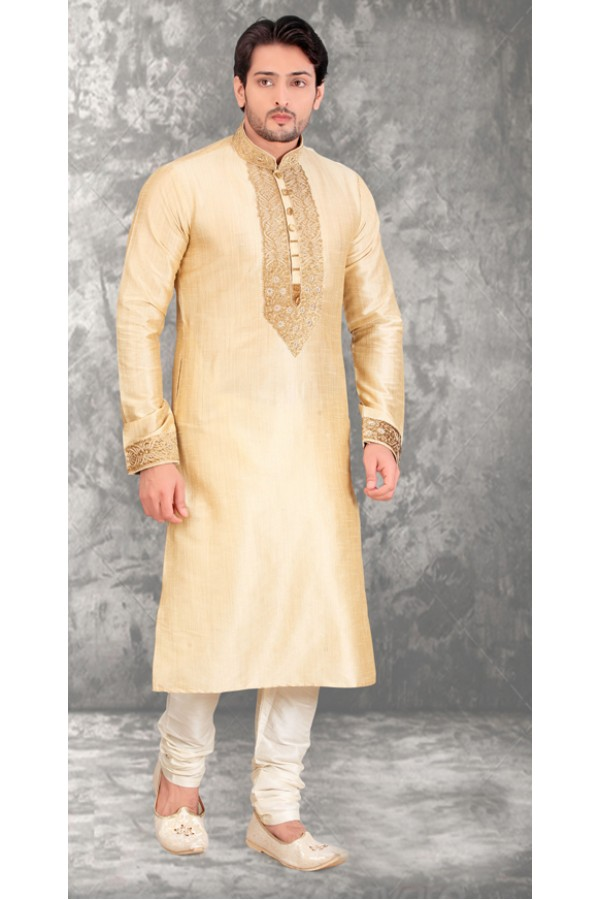 Party Wear Readymade Cream Silk Kurta & Pajama - 18459