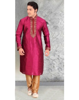 Readymade Royal Pink Silk Kurta & Pajama - 18461