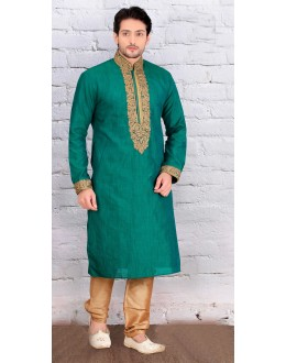 Ethnic Wear Readymade Green Silk Kurta & Pajama - 18463
