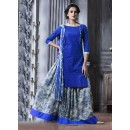 Festival Wear Blue Cotton Lehenga Suit  - 18465