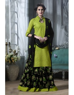 Party Wear Green Cotton Lehenga Suit  - 18466