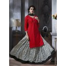 Ethnic Wear Red Cotton Lehenga Suit  - 18467