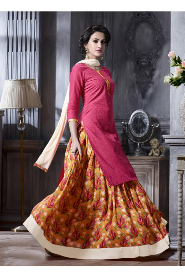 Festival Wear Pink Cotton Lehenga Suit  - 18474