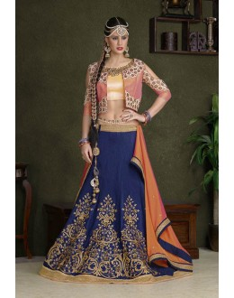 Festival Wear Blue C*N Silk Lehenga Choli - 18476