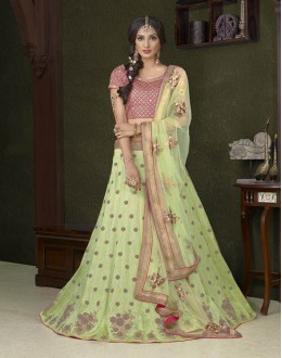 Festival Wear Light Parrot C*N Silk Lehenga Choli - 18479