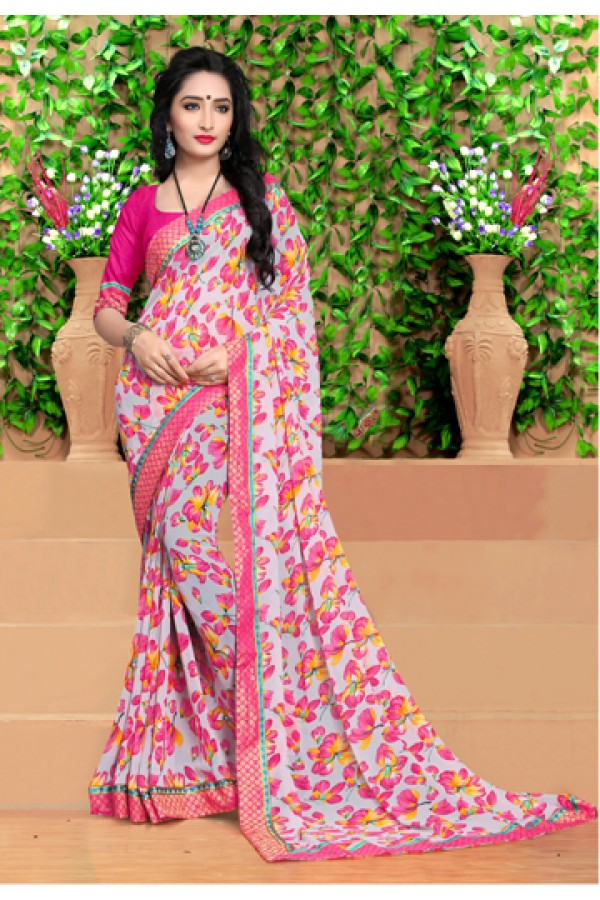 Ethnic Wear Multi-Colour Georgette Saree  - 18490