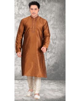 Ethnic Wear Readymade Light Brown Silk Kurta & Pajama - 18507