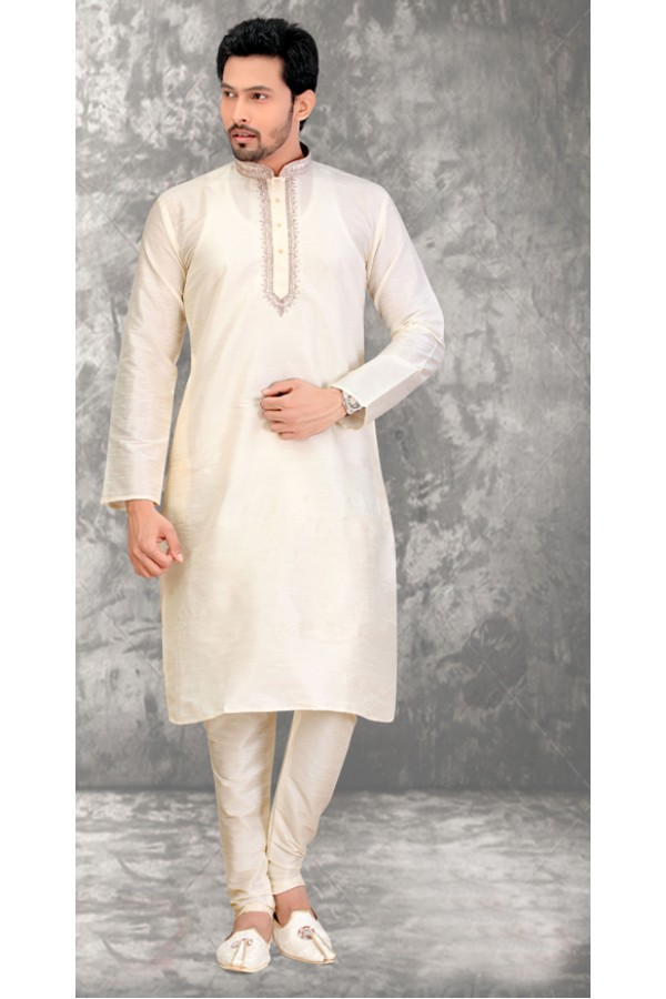 Traditional Readymade Off White Silk Kurta & Pajama - 18509