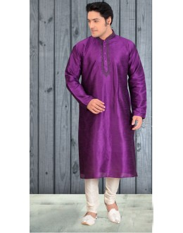 Ethnic Wear Readymade Purple Silk Kurta & Pajama - 18510
