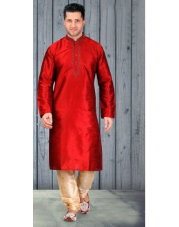Red Colour Readymade Silk Kurta & Pajama - 18511
