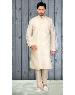 Casual Wear Readymade Off White Silk Kurta & Pajama - 18514