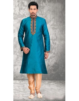Traditional Readymade Teal Blue Silk Kurta & Pajama - 18522