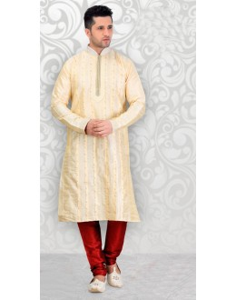 Traditional Readymade Cream Silk Kurta & Pajama - 18523