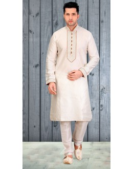 Readymade Off White Silk Kurta & Pajama - 18524