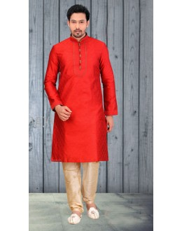 Readymade Red Silk Kurta & Pajama - 18525