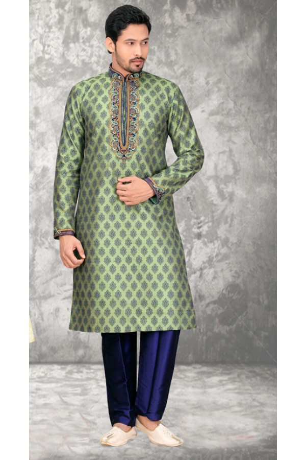 Festival Wear Readymade Green Kurta & Pajama - 18527