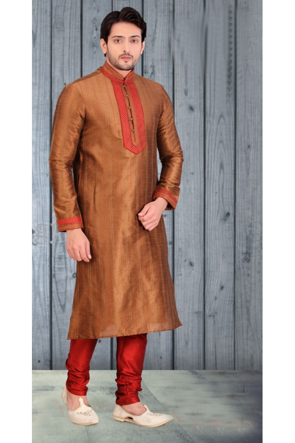 Ethnic Wear Readymade Golden Kurta & Pajama - 18530