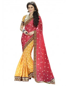 Festival Wear Red & Yellow Georgette Saree  - 18532